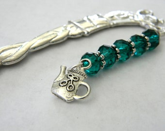 Teapot Bookmark with Emerald Green Glass Beads Silver Color Shepherd Hook Bookmark Tea Design