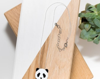 Panda necklace in natural wood and silver chain