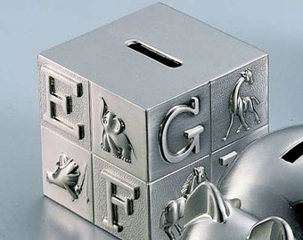 Baby Gift , Block  Bank , Pewter or bright finish Personalized with Engraving