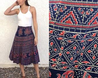 Vintage 70s Indian block elephant print wrap skirt