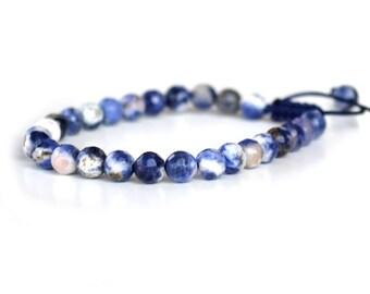 Sodalite Bracelet, Blue Sodalite Mala Beads, Natural Blue Gemstone Meditation Bracelet, Blue Yoga Bracelet, Sodalite Energy - Truth, Widsom