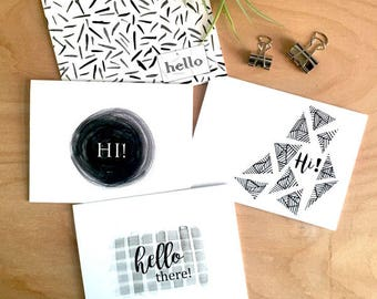 greeting card set, watercolor card, greeting card, hello card, hello greetings, Note Card Set, black and white cards,