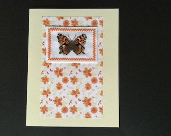 Butterfly, handmade,greetings card, birthday, thank you, cross stitched, blank, mum, grandma.