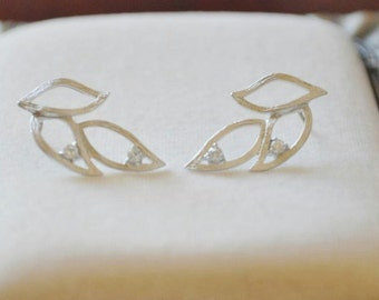 Three Leaves Post Earrings - Sterling Silver posts with CZ accents, nature inspired, botanical design