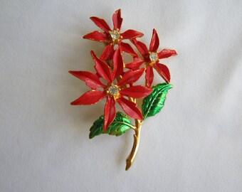 Vintage Poinsettia Christmas Brooch Pin