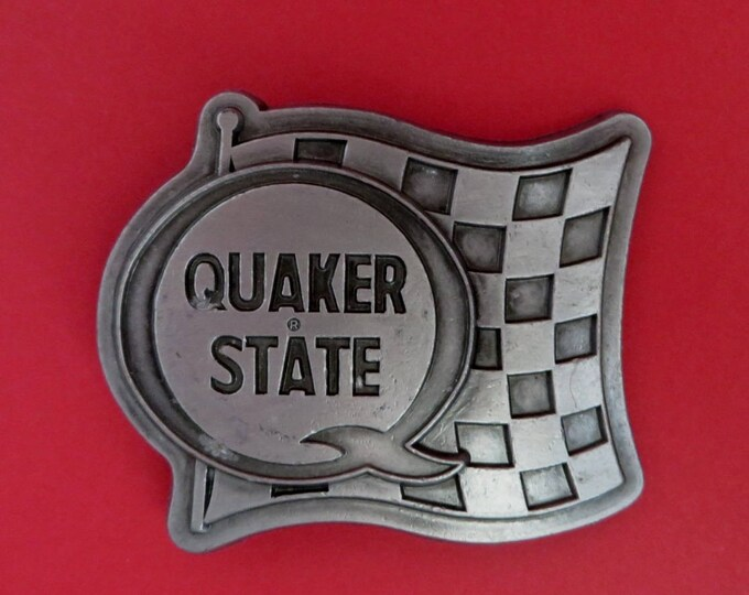 Pewter Belt Buckle, Vintage Quaker State Belt Buckle, Automotive Collectible Buckle, Gift for Him