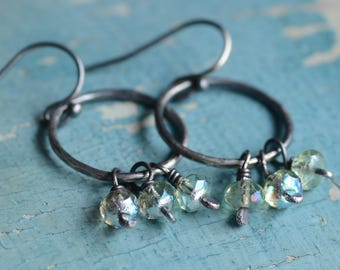 Sterling Silver Hoop Earrings Hand Forged Oxidized Bohemian Style Jewelry Artisan Light Green Boho Clusters Mermaid Tear Drop Clusters
