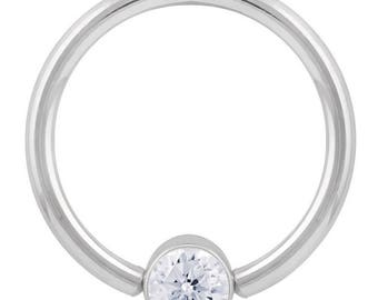 Cubic Zirconia Round Bezel 14K White Gold Captive Bead Ring
