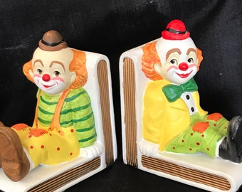 Vintage Clown Bookends Lefton China