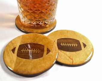 "FOOTBALL Coaster Set - Hand Made 3.5"" Wooden Coasters, Football Lover Home Decor & Barware - Permanent Sealing Options - Football 1"