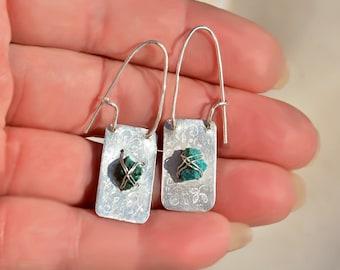 Raw Stone Jewelry Stone Earrings Turquoise Hoop Earrings Silver Earrings Silver Jewelry Engraved Silver Sheet Earrings Free Shipping Israel