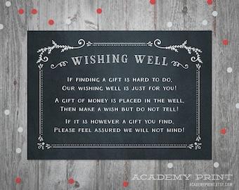 Wishing Well Wedding Insert - Instant Download Printable Chalkboard Wishing Well Card - Chalkboard Wedding Suite - Registry Insert