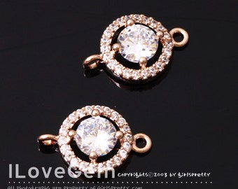 NP-1840 Rose Gold Plated, Cubic zirconia, 9mm Round Connector, 2pcs