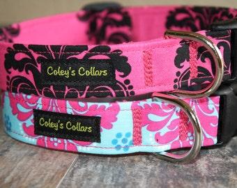 "Dog Collar Damask, Dog Collar, Dog Collars, Girl Dog Collar, Boy Dog Collar, Female Dog Collar,  ""The Damasks"" You Pick One"