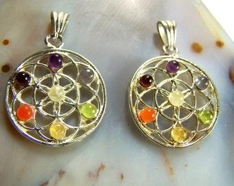 Flower of Life Chakra pendants with Rainbow Gemstones - Amethyst Iolite Peridot Citrine Carnelian Garnet Moonstone - silver tone chain cord