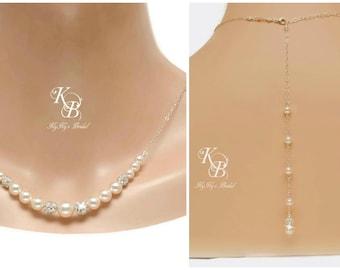 Bridal Backdrop Necklace - Pearl Back Drop Necklace - Pearl Backdrop Necklace - Silver Back Necklace - Bridal Necklace - Back Necklace