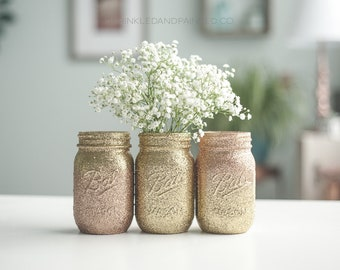 Rose Gold Ombre Vases, Rose Gold Glitter Decor, Rose Gold Wedding