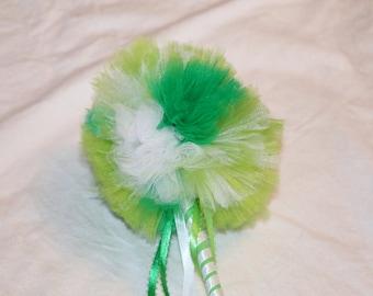 Green Magic Wand, Irish Wand, St. Patrick's Day Wand,  Wand, Princess Wand, Tulle Wand, Pom Pom Wand, Green, White, Lime, Weddings