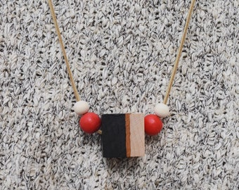 Wooden bead necklace // Hand Painted // Red and Black Necklace