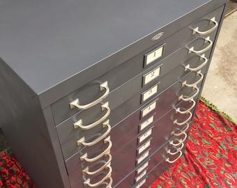 Vintage blueprint etsy vintage cole steel map cabinet 11 drawer blueprint cabinet malvernweather Images