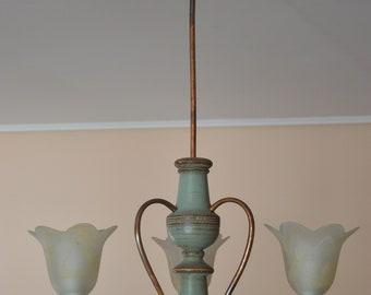 3 light vintage wooden chandelier lighting, rustic, vintage, shabby chic pendant light, ceiling light