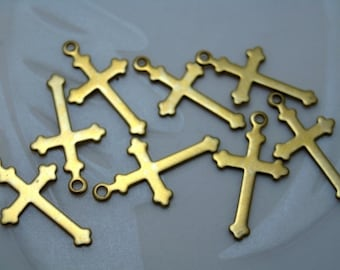 Brass Cross Charms - 12