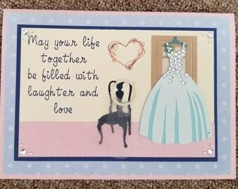 Hanging wedding dress wedding shower card