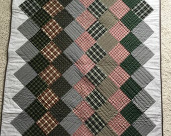 plaid/check flannel throw for little boys