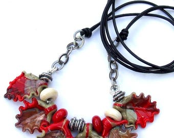 Handmade Lampwork Glass Necklace, Red and Ivory Lampwork Leaves Necklace, Unique Gift, Made to Order