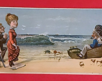 Victorian Trade Card 1800s, A Day At The Beach, Dolliver Brothers Fancy Groceries, Victorian Collectible