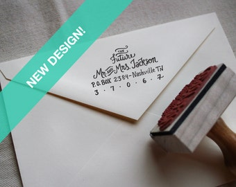 Custom All Hand Written Calligraphy Stamp, Return Address, Wood Mounted Rubber Stamp with Handle or Self-Inking, Jackson Style