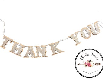 Thank You wedding pictures banner // just Married Banner // Country Wedding