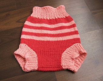 Hand Knitted Wool Cloth Diaper Cover Knit Cloth Diaper Wool Diaper Soaker Baby Wool Nappy Cover size Medium 6-12 Months