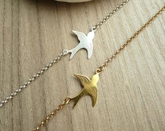 Sterling Silver Swallow Bracelet, Tiny Bird Bracelet, Dainty Bracelet, Thin Delicate Bracelet, 925 Sterling Silver Jewelry