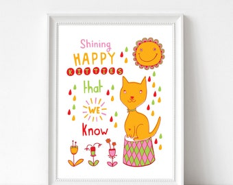 "Art Print - Shining Happy Kitties That We Know | 300mm x 400mm / 12 x 16"" | Wall Decor | Art Poster"