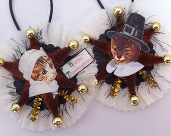 THANKSGIVING pilgrim CAT vintage style chenille ORNAMENTS set of 2 round medallions