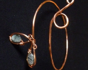 Upper Arm Cuff Bracelet Tourmalinated Quartz Tribal Bangle UpCyCleD Copper Wire Spiral Arm Band