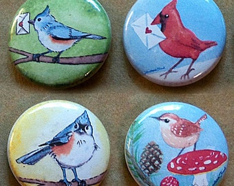 Little Birds Collection 4 Pinback Buttons - Pins - Badges tufted titmouse with letter, cardinal, tufted titmouse, wren on mushroom