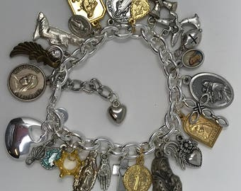 Catholic Religious Symbols Virgin Mary Jesus Cross Saints Angels Crown Wings Charm Bracelet Sterling Silver Bracelet Chain