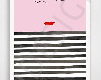 A3 Print, French stripe, eyeliner and lips face