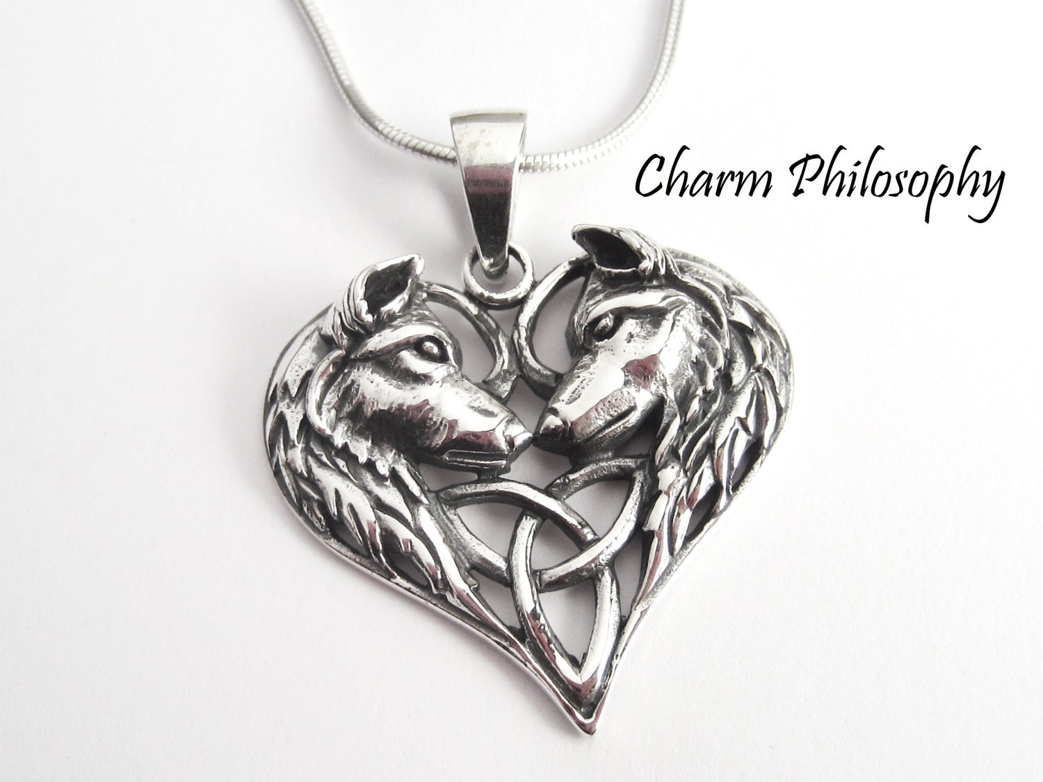 Wolf necklace 925 sterling silver jewelry two dogs zoom mozeypictures Choice Image