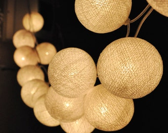 Handmade White cotton ball string lights for Patio,Wedding,Party and Decoration (20 bulbs), fairy lights