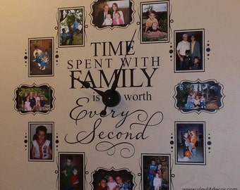 Time spent with family is worth every second CL205 4 x 6 or 5 x 7 photo clock w/working clock parts/hands decal wall clock VINYL FRAMES