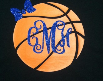 Preppy Basketball Monogram Shirt with Glitter Heat Set. We can do any color!