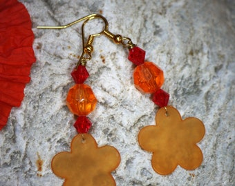 Red orange earrings with flower, retro style beads