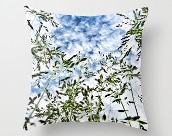 Grass and Sky Throw Pillow,16x16,18x18,20x20,Nature Pillow, Decorative Pillow, Grass Cushion, Grass Interior Design, Grass Decor, Cloudy Sky
