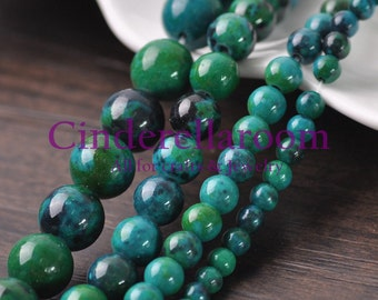 Wholesale 40/50/60/100pcs 4mm 6mm 8mm 10mm Round Chrysocolla Stone Natural Gemstone Loose Spacer Beads DIY Jewelry Findings SKU BS045