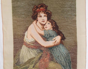 """French Trammé Needlepoint Tapestry. Madame Le Brum and her Daughter. Trammed Needlepoint Canvas Lrg Preworked Canvas 18"""" x 25"""" (6118s)"""