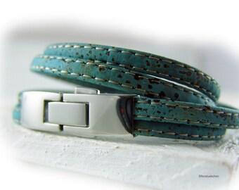 Herren Damen Armband Kork vegan blau petrol türkis silber - Korkarmband Wickelarmband - Geschenk für sie ihn Ehemann Freund Ehefrau Freundin