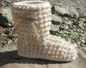 Crochet Pattern Boots -  BEADED GYPSY BOOTS - indoor or outdoor wear - womans sizes 5-10 slippers  Sturdy adult boots add outdoor soles